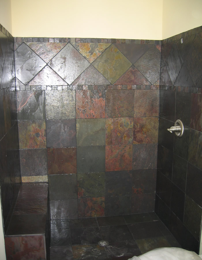 Suwanee ga bathroom remodeling ideas tile installation for Slate tile bathroom ideas