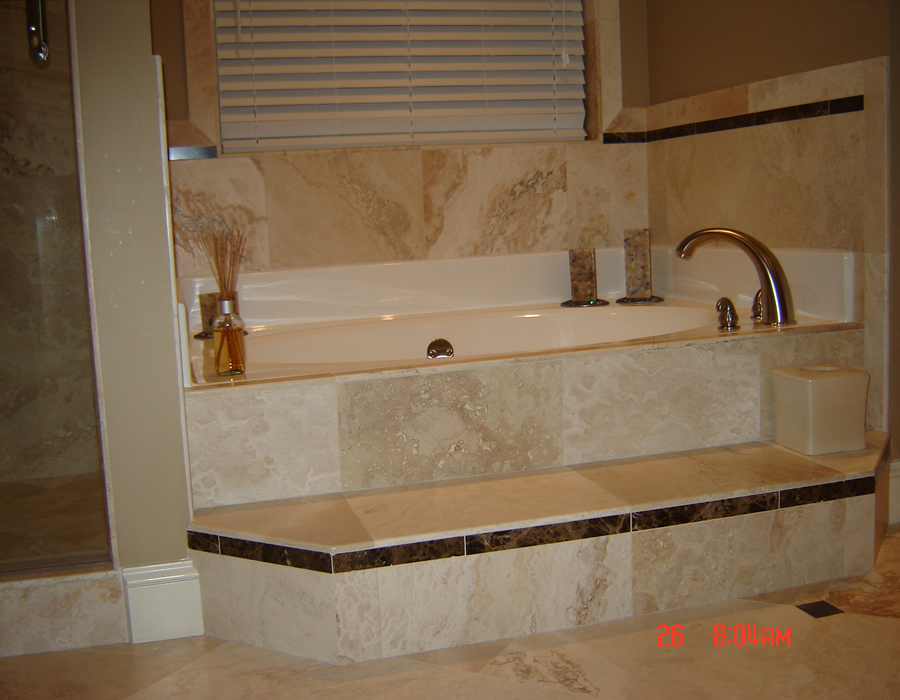 Travertine jacuzzi tub installation travertine installers alpharetta ga - Bathroom designs with jacuzzi tub ...