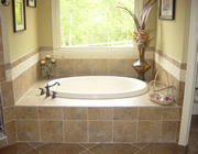 Porcelain tile jacuzzi tub