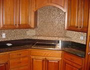 Travertine & glass tile backsplash